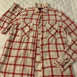 J Crew red block plaid blouse